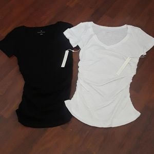 Caslon rouched  v neck tees..NWT